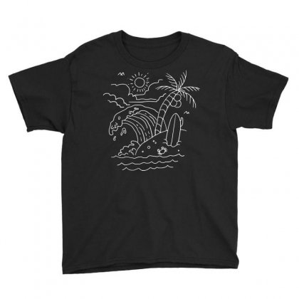 The Waves Are Calling (for Dark) Youth Tee Designed By Quilimo