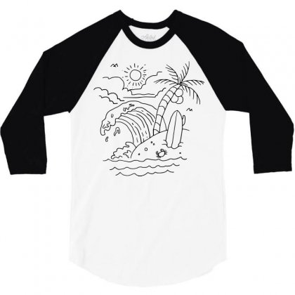 The Waves Are Calling (for Light) 3/4 Sleeve Shirt Designed By Quilimo