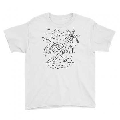 The Waves Are Calling (for Light) Youth Tee Designed By Quilimo