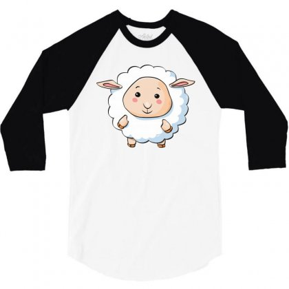 Lamb Cute Young Funny Character 3/4 Sleeve Shirt Designed By Salmanaz