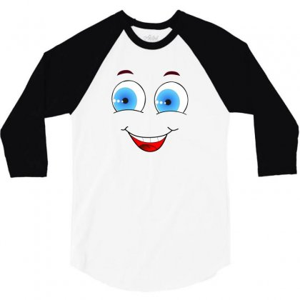 Smiley Face Laugh Comic Funny 3/4 Sleeve Shirt Designed By Salmanaz