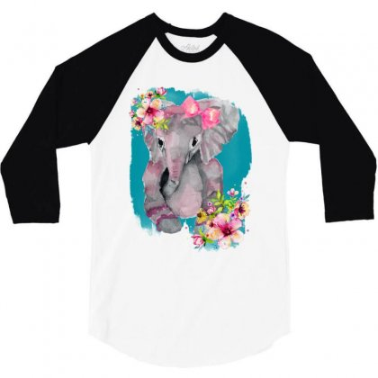 Watercolor Baby Elephant 3/4 Sleeve Shirt Designed By Nurbetulk