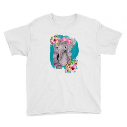 Watercolor Baby Elephant Youth Tee Designed By Nurbetulk