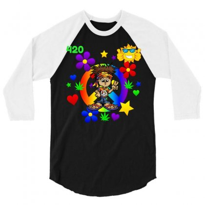 420 Hippie 3/4 Sleeve Shirt Designed By Dianegracely