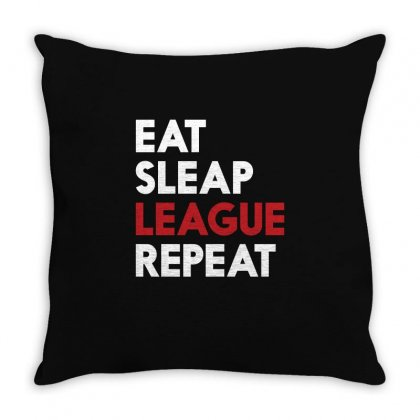 Gamer Lol Eat Sleep League Repeat T Shirt 2016 Throw Pillow Designed By Hung