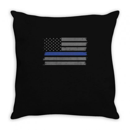 Thin Blue Line T Shirt Throw Pillow Designed By Hung