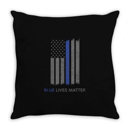 Blue Lives Matter Thin Blue Line Shirt Support Police Throw Pillow Designed By Hung