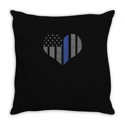 Blue Lives Matter Thin Blue Line Heart Flag Police Tee Throw Pillow Designed By Hung