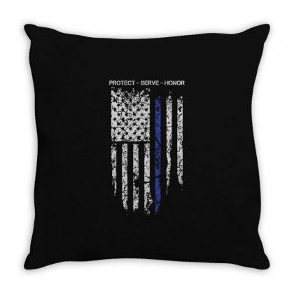 Thin Blue Line T Shirt   Protect Serve Honor Throw Pillow Designed By Hung
