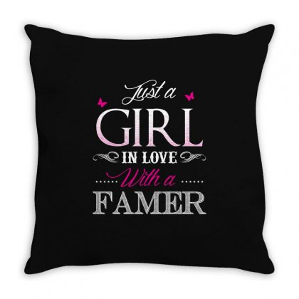 Farmer T Shirt   Just A Girl In Love With A Farmer Throw Pillow Designed By Hung