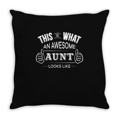 Aunt T Shirt   Awesome Aunt Funny Tee Throw Pillow Designed By Hung