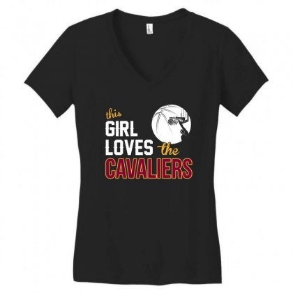 Sports This Girl Loves Cava Liers Basketball Tshirt Women's V-neck T-shirt Designed By Hung