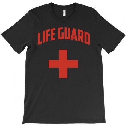 Life Guard   White With Red Cross T-shirt Designed By Hung
