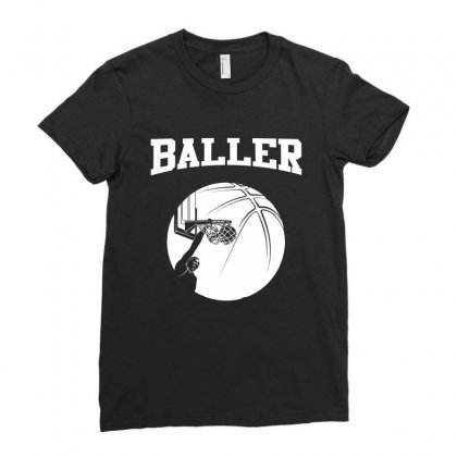 Baller Basketball Short Sleeved Tee Shirt Ladies Fitted T-shirt Designed By Hung