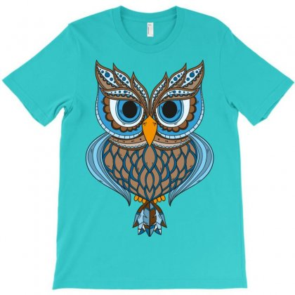 Owl Drawing Art Vintage Clothing Blue Feather T-shirt Designed By Salmanaz