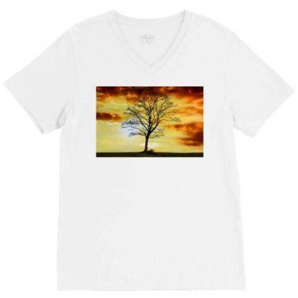 Branches Dawn Dusk Fall V-neck Tee Designed By Salmanaz