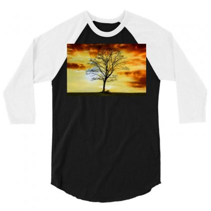 Branches Dawn Dusk Fall 3/4 Sleeve Shirt Designed By Salmanaz