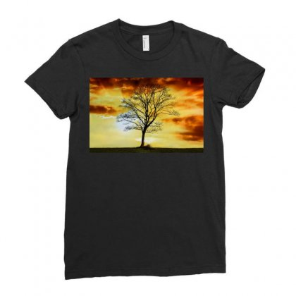 Branches Dawn Dusk Fall Ladies Fitted T-shirt Designed By Salmanaz