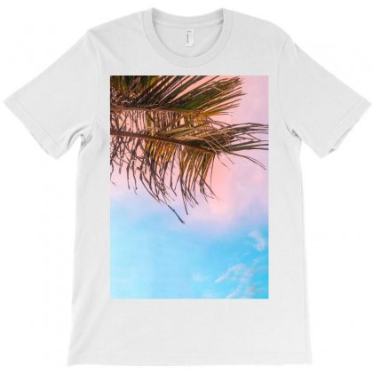 Two Green Palm Leaves On Low Angle Photo T-shirt Designed By Salmanaz