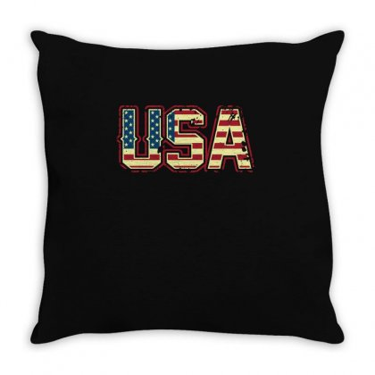 Usa American Flag T Shirt Throw Pillow Designed By Hung