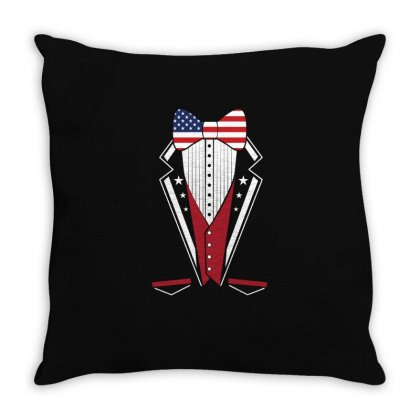 Usa America Merica Tux Tuxedo Suit Costume T Shirt Throw Pillow Designed By Hung