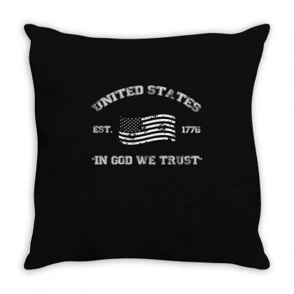 United States Established 1776 Flag In God We Trust Usa T Shirt Throw Pillow Designed By Hung