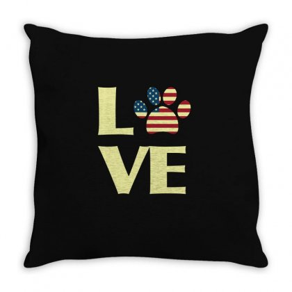 Patriotic American Flag Dog Love Usa T Shirt Tee Throw Pillow Designed By Hung