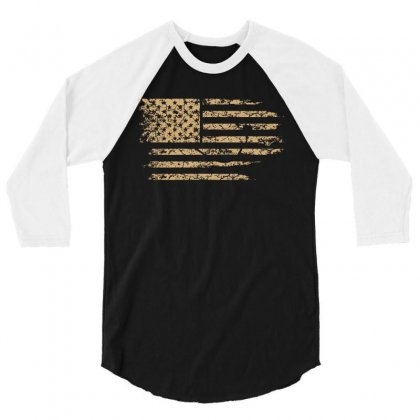 Distressed American Flag Usa T Shirt 3/4 Sleeve Shirt Designed By Hung