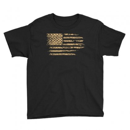 Distressed American Flag Usa T Shirt Youth Tee Designed By Hung