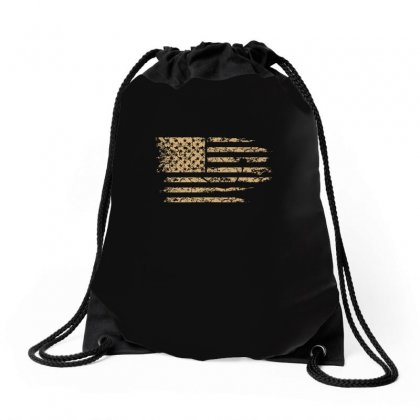 Distressed American Flag Usa T Shirt Drawstring Bags Designed By Hung