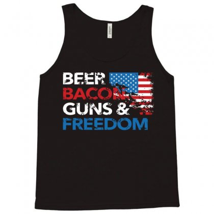 Beer Bacon Guns And Freedom   Usa Flag   T Shirt Tank Top Designed By Hung