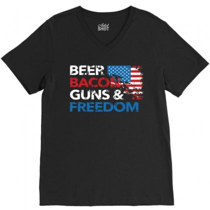 Beer Bacon Guns And Freedom   Usa Flag   T Shirt V-neck Tee Designed By Hung