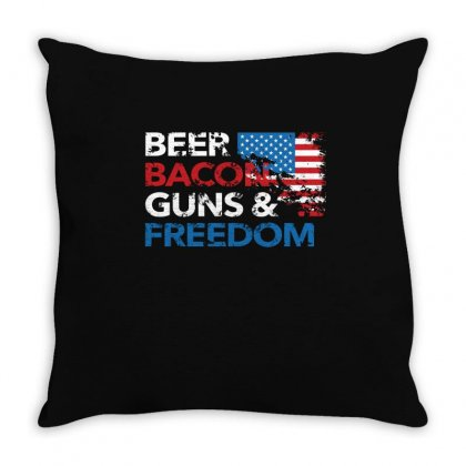 Beer Bacon Guns And Freedom   Usa Flag   T Shirt Throw Pillow Designed By Hung