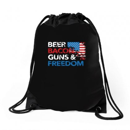 Beer Bacon Guns And Freedom   Usa Flag   T Shirt Drawstring Bags Designed By Hung