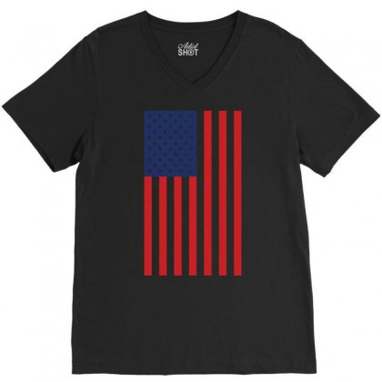 American Flag Solid Back Usa T Shirt V-neck Tee Designed By Hung