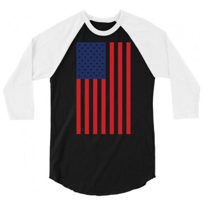 American Flag Solid Back Usa T Shirt 3/4 Sleeve Shirt Designed By Hung