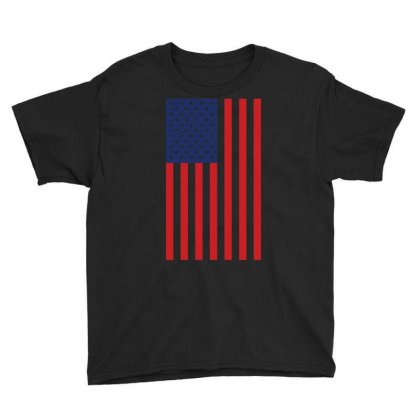 American Flag Solid Back Usa T Shirt Youth Tee Designed By Hung