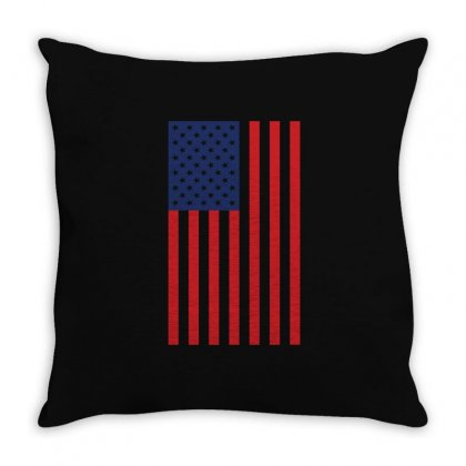 American Flag Solid Back Usa T Shirt Throw Pillow Designed By Hung