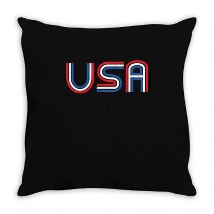 American Flag Patriotic Shirt   Made In The Usa T Shirt Throw Pillow Designed By Hung