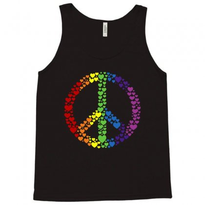 Peace Sign Rainbow Hearts Tank Top Designed By Blqs Apparel