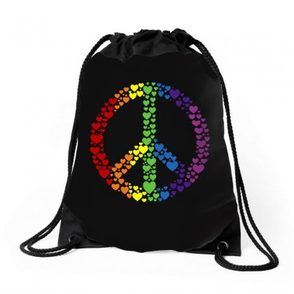 Peace Sign Rainbow Hearts Drawstring Bags Designed By Blqs Apparel