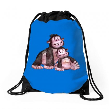 Gorilla Family Drawstring Bags Designed By Tiococacola