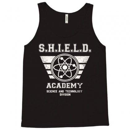 Shield Academy In White Tank Top Designed By Blqs Apparel