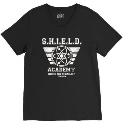 Shield Academy In White V-neck Tee Designed By Blqs Apparel