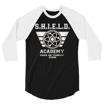 Shield Academy In White 3/4 Sleeve Shirt Designed By Blqs Apparel