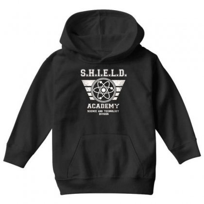 Shield Academy In White Youth Hoodie Designed By Blqs Apparel