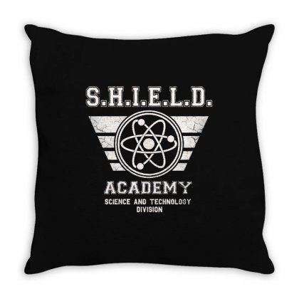 Shield Academy In White Throw Pillow Designed By Blqs Apparel