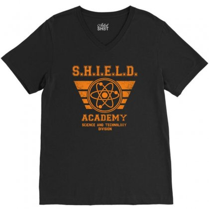 Shield Academy In Yellow V-neck Tee Designed By Blqs Apparel