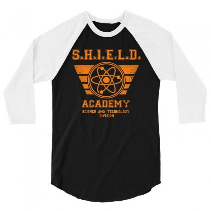 Shield Academy In Yellow 3/4 Sleeve Shirt Designed By Blqs Apparel