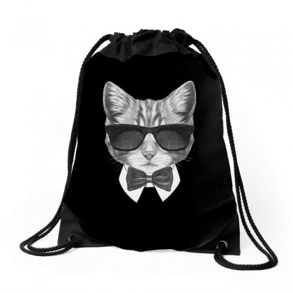 Bond Cat Drawstring Bags Designed By Tiococacola